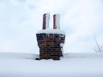 snowy chimney
